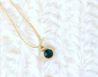 Emerald Birthstone Necklace | Emerald Green Necklace | May Birthstone | Birthday Gift | Emerald Jewelry | Gift for Friend | Birthstone Charm