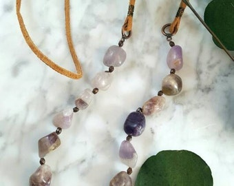 Amethyst and Suede Necklace/Boho Gemstone Necklace/Suede Jewelry