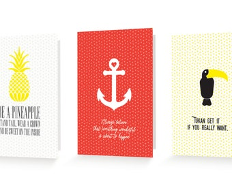 Set of Uplifting Greeting Card - Encourage - Happy - Positive - Love