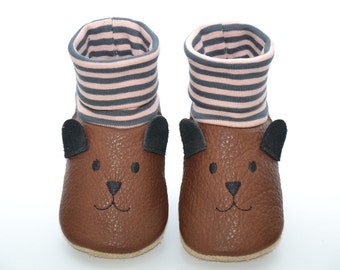 Organic leather - baby shoes bear slippers