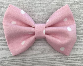 Pink and White Polka Dot Bow - Headband or Hair Clip - Baby or Child Hair Accessories - Spring Accessories - Nylon Headband