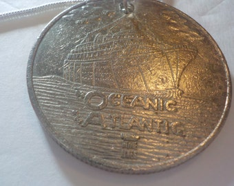 Vintage, Oceanic, Atlantic, Home Lines, Token, Made into a Necklace, 20 inch, Serpentine, Silver, Chain