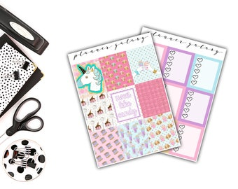 Carnival Weekly Sticker Kit | Candy, Fairground, Milkshakes, Unicorns, Pinks, Blues, Purples | Erin Condren Vertical Life Planner Stickers