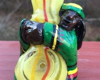 TOBACCO pipe, Rasta, totem, smoking pipe, handmade USA, not glass