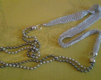 Gray beads and silver lurex