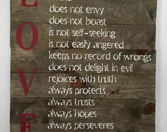Love is patient love is kind rustic pallet wood sign /  Corinthians 13