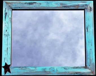 rustic aqua blue mirror farmhouse distressed wood frame worn blue picture frame vintage look aqua beach wood mirror rustic chalkboard