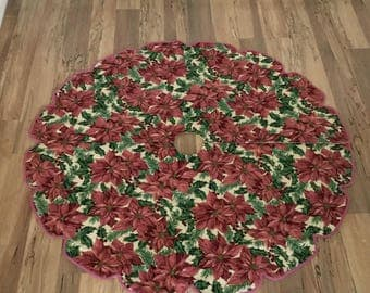 Christmas Tree Skirt/Tree Stand Cover/Under Christmas Tree Cloth/Pink and Burgundy Poinsettias/Scalloped Edge with Braided Trim