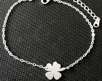 PROMO! Leaf Clover silver plated love bracelet nature woman