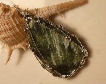 Seraphinite pendant with Seraphinit 41mm, equivalent, silver pendant