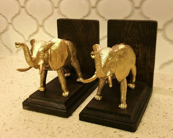 Gold Colored Elephant Bookends