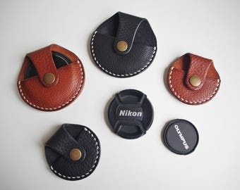 Leather Camera Lens Cap Holder