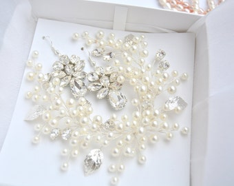Ivory Pearl Bridal Hair Vine, Shiny Crystall Wedding Hair Piece