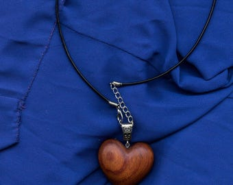 Wooden heart necklace, wooden necklace, wooden jewellery, gift for her, valentines, wooden heart pendant, made from Bubinga wood.