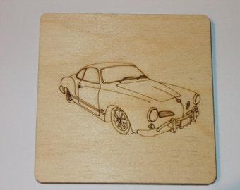 Karmann Ghia Coaster - Etched wood
