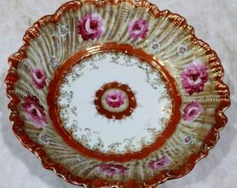 Ornate Serving Bowl, Decorative Serving Bowl, Medium Serving Bowl, Vintage Bowl, Gold Accents, Floral Design, Antique Bowl