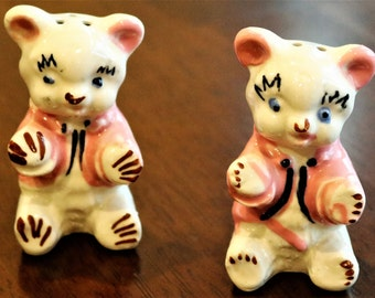 Teddy Bears Salt and Pepper Shakers, Vintage S+P Shakers, Pink Jackets, Whimsical Shakers, Bears in Jackets, Retro Kitsch