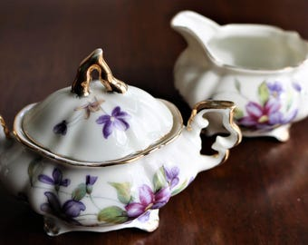 Mini Cream and Sugar Set, Vintage Child's Set, Purple Violets, Covered Sugar Bowl, Cream Pitcher, Footed Sugar & Creamer Set