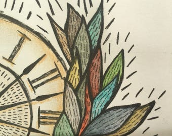 OFFER, Illustration, Clock, Decoration, Original, Art, The triumph of time, Home decor, Colorful, Special gift, Gift,