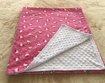 Little Kitty Themed Baby Blanket, Flannel and Minky Baby Blanket