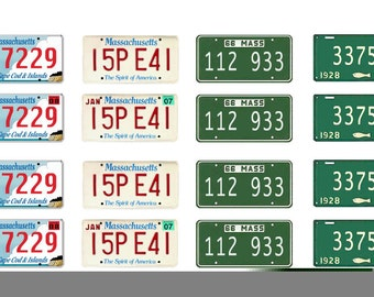 scale model car  Massachusetts license tag plates