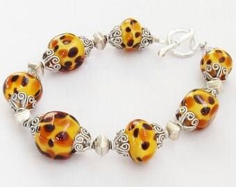 Custom Sterling Silver Bad Kitty Cheetah Glass Bead Bracelet