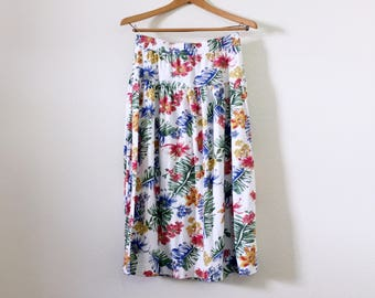 Tropical Print Jersey Skirt