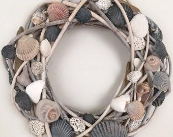 Seashell Driftwood Wreath, Coastal Wreath, Beach House Wreath, Nautical Wreath, Rustic Wreath, Beach home decor, Beach wedding Wreath
