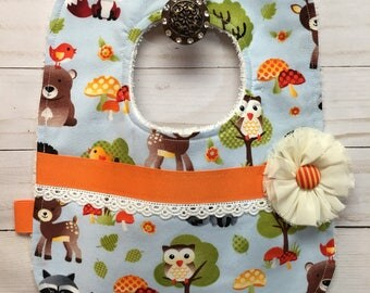 Sweetiest Girls Baby Bib with Baby Forest Animals