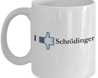 Funny Physics Mugs - Thumbs Up And Down Schrodinger - Ideal Science Gifts