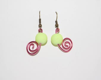 Yellow and Pink Swirl Earrings