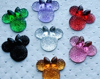 28mm ACRYLIC GEMS Minnie Mouse (10 count) Faceted Flatback Decoden Rhinestones