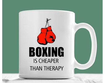 Boxing Mug, Boxing Is Cheaper Than Therapy, Boxing Coffee Mug, Boxer Coffee Mug, Boxer Mug, Gifts For Boxers