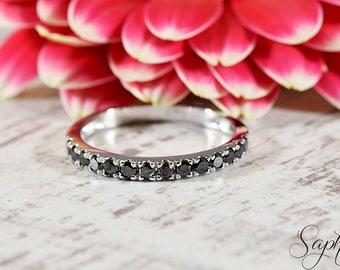 Black Diamond Half Eternity Engagement Band in 14K Solid White Gold, Wedding, Stacking Ring, Stackable, Genuine Black Diamond by Sapheena
