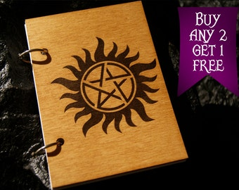 Pentagram wooden notebook / Supernatural notebook / sketchbook / diary / Supernatural journal / travelbook / Supernatural gift