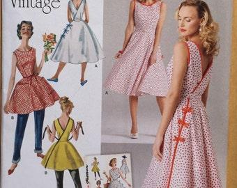 Simplicity Pattern 8085 1950's Vintage Wrap Dress. 2 Lengths. Size 6, 8, 10, 12, 14 or 14, 16, 18, 20 ,22
