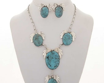 Turquoise Y Necklace Set Navajo Jewely With Post Earrings