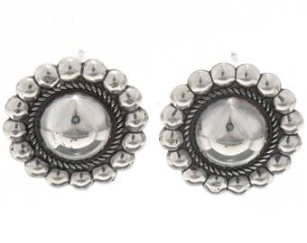 Navajo Silver Concho Earrings Domed Center Studs