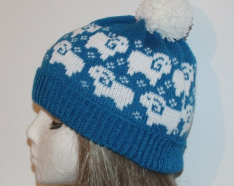 Blue beanie hat with Sheep in White - with or without pompom top