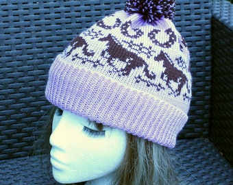 Light Lilac with Brown Running Horses Beanie Hat with or without pompom