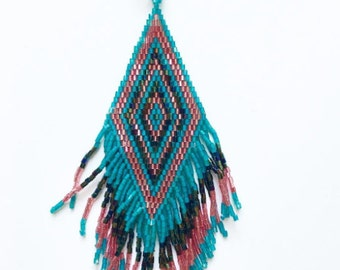 Necklace boho Pretty squaw / / / woven in beads