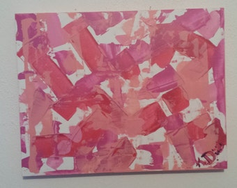 Pink Pallet Original Modern Abstract Acrylic Painting on Small Wood Panel