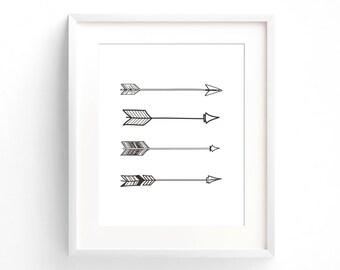 Arrows Wall Print, Black and White Arrows, Printable Art, Wall Art Printable, Simplistic Art, Download, Arrow Art, Black Arrows Print