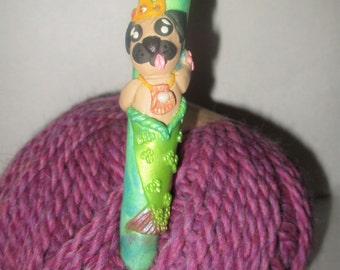Beautiful, ergonomic Mer-Pug Crochet Hook (Pug)