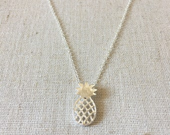 Pineapple Necklace, Fruit Necklace, Pineapple Charm, Silver Necklace, Layering Necklace, Delicate Necklace, Dainty Necklace, Birthday gift,