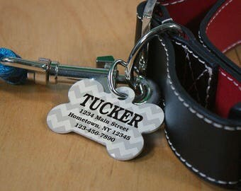 Personalized Chevron Dog Tag Custom Name Gift