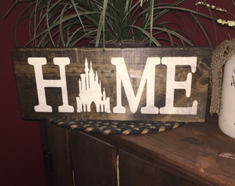 Darker stained wooden sign - Home
