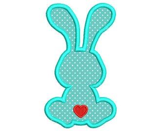 Bunny Rabbit Applique Machine Embroidery Design. Easter Embroidery Design. Easter Bunny Embroidery Design. Silhouette Easter Rabbit. Heart