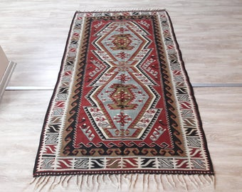 "Turkish Decorative Kilim Rug,3'50""×6'feet,107x185cm,Anatolian Turkish Vintage Home Decor Kilim Rug"