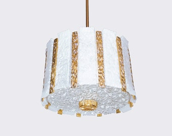J.T. KALMAR DRUM CHANDELIER gold plated & frosted Glass Ceiling Lamp 1060s